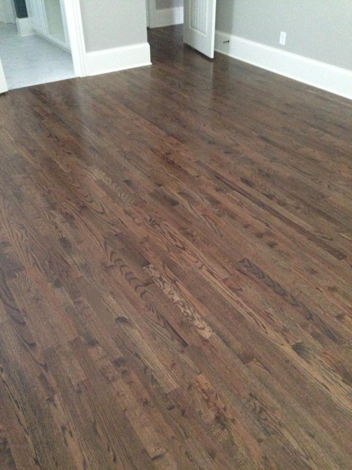 Dark hickory hardwood flooring installation in Winder, GA