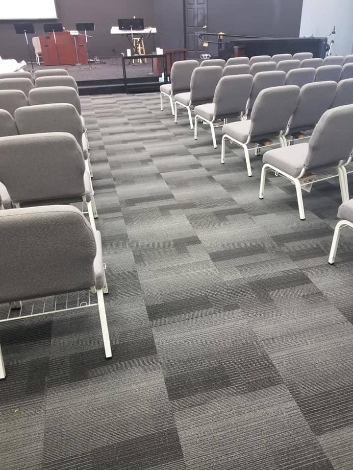 Commercial carpet tile install in Hamler, OH from Carpet Wholesalers
