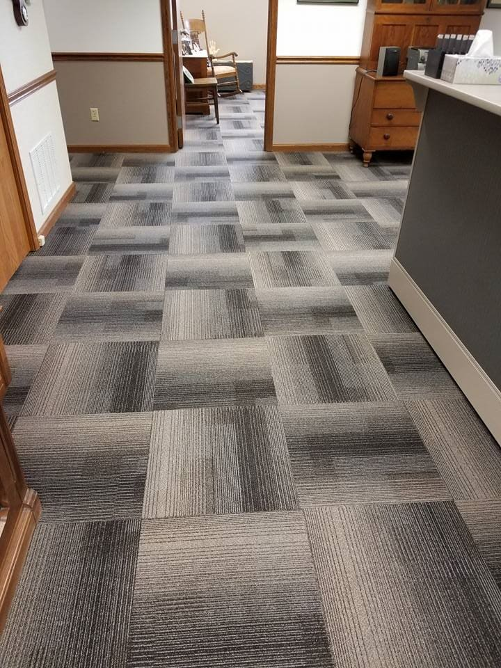 Custom carpet tile install in Convoy, OH from Carpet Wholesalers