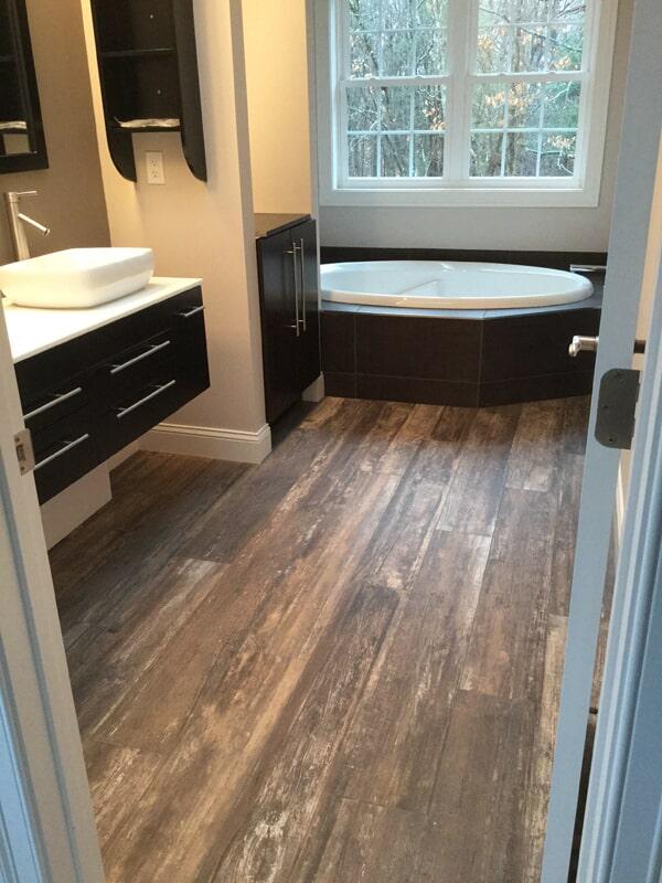 Wood look bathroom flooring in Cromwell, CT from Custom Floors