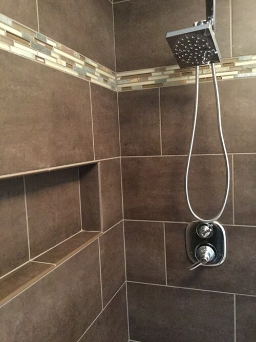 Earth tone shower tile in Rocky Hill, CT from Custom Floors