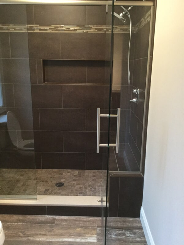Natural tone shower remodel in Hartford, CT from Custom Floors