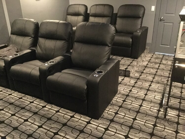 Home theater carpet flooring in Rocky Hill, CT from Custom Floors
