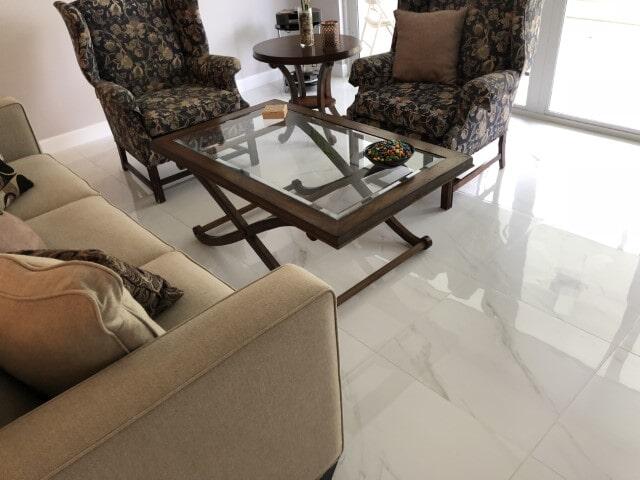 Porcelain Polished Tile Marble look install (6)