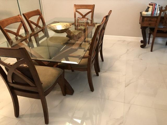 Porcelain Polished Tile Marble look install (11)