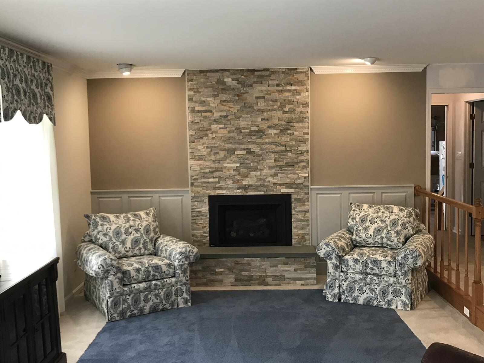 Drystack Fireplace & Re-upholstery Chairs