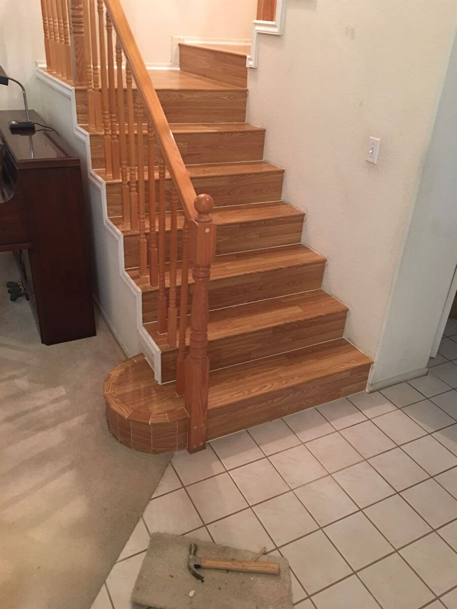 Hardwood stairway installation from Century Flooring & Decor in Fontana, CA