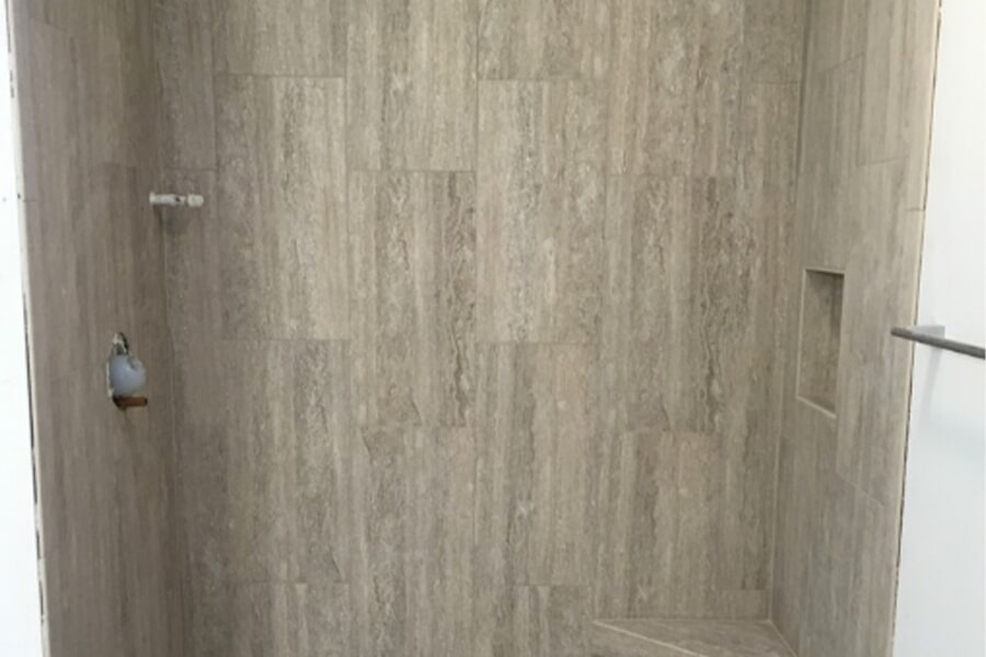 Vertical shower tile in McFarland, WI from Bisbee's Flooring Center