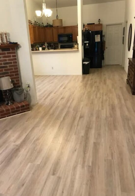 Living room flooring installation in St. Charles County, MO by Hometown Floors Online