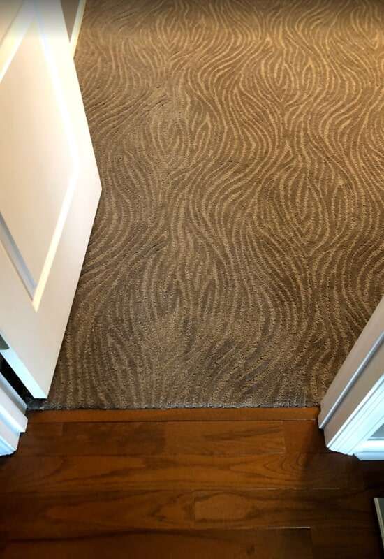 Patterned carpet installation in St. Charles County, MO by Hometown Floors Online