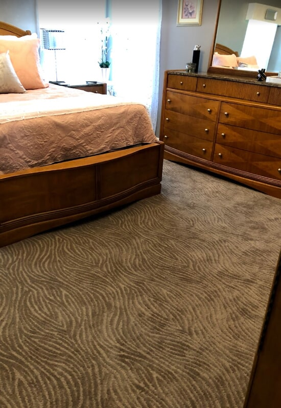 Pattern carpet in bedroom in St. Charles County, MO by Hometown Floors Online