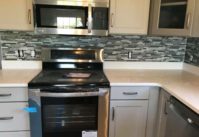 Mosaic kitchen backsplash in St. Charles County, MO by Hometown Floors Online