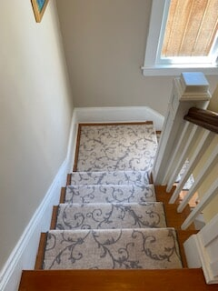 Hall & stair runner we installed in Kirkland using Masland Carpet's style Gallentry Too Stair runner.
