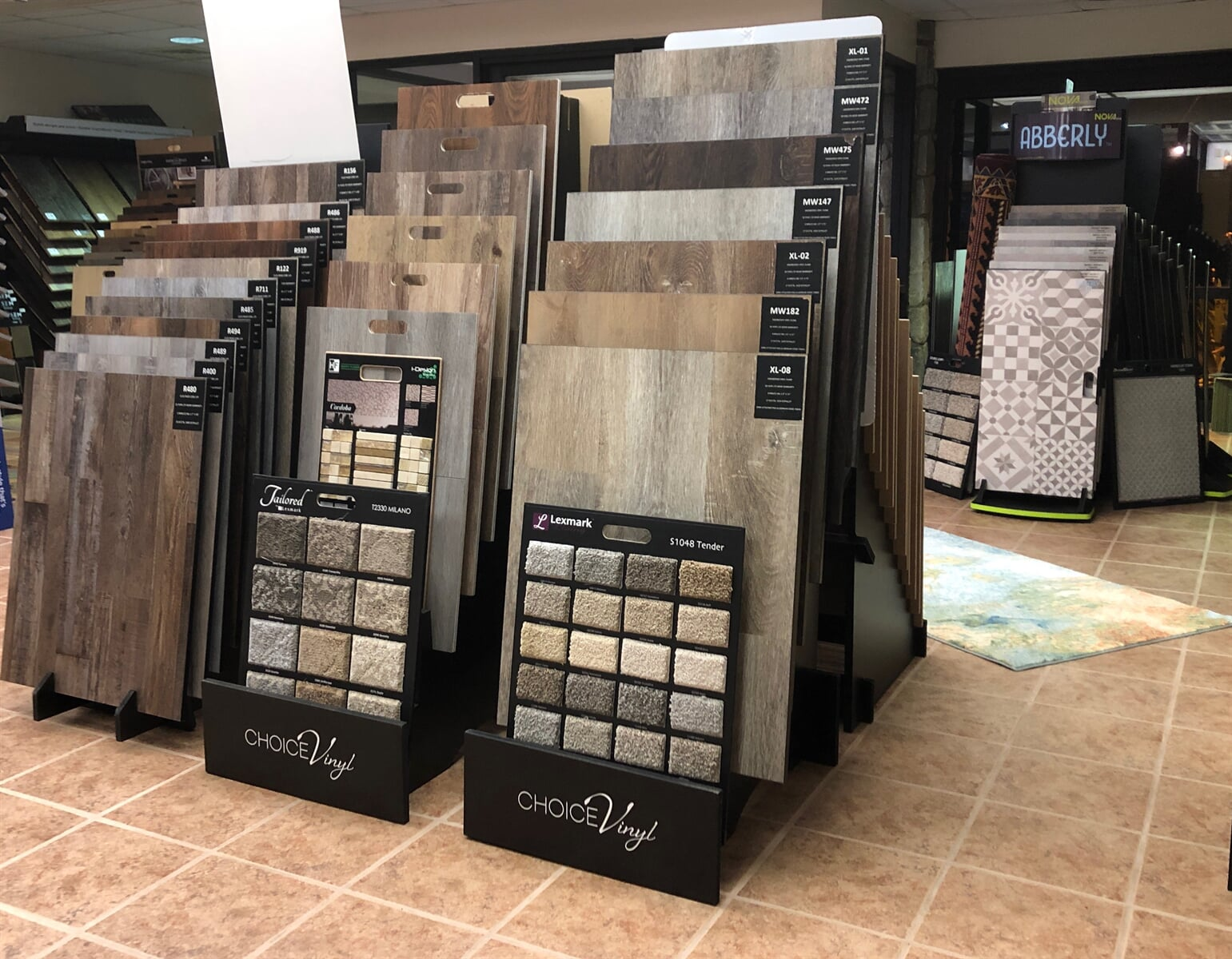 Browse vinyl flooring at our showroom in Andrews, NC
