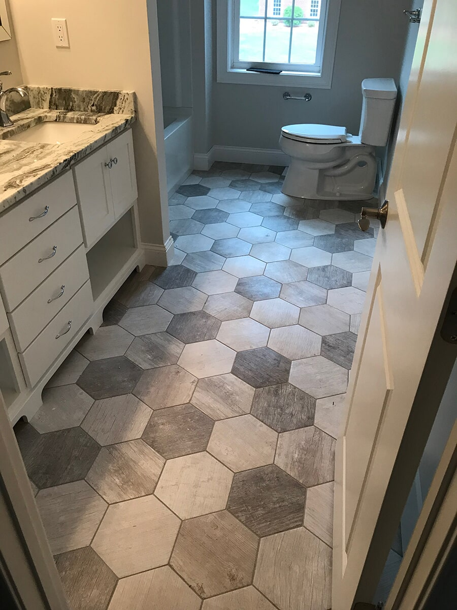 Hexagonal floor tiles in Hartford, CT from Custom Floors