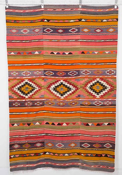 Vintage Anatolian Kilim Handwoven in Turkey