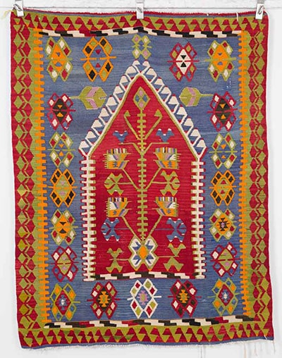 Vintage Prayer Kilim Handwoven in Turkey