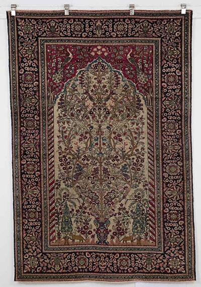 Antique Kashan Prayer Rug Handmade in Iran