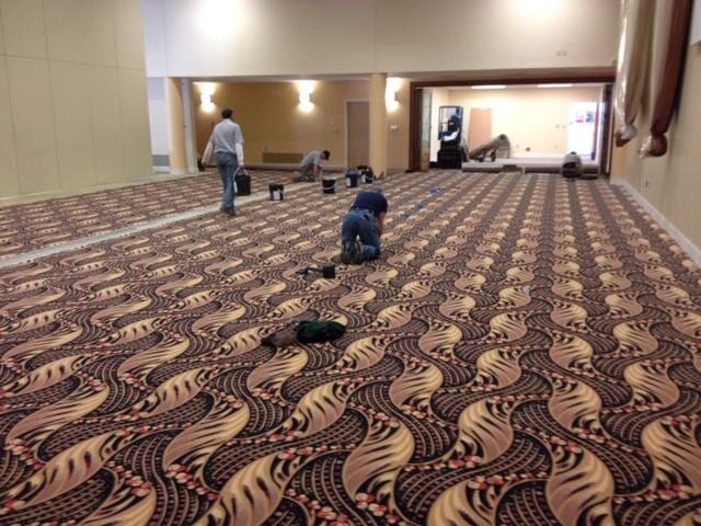 Our team at a commercial flooring installation in Media, PA