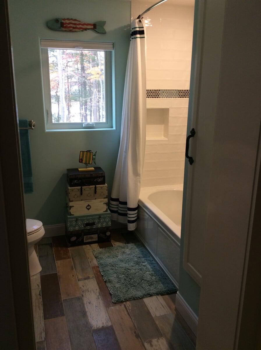 Rustic bathroom flooring in Bedford County, VA from The Floor Source