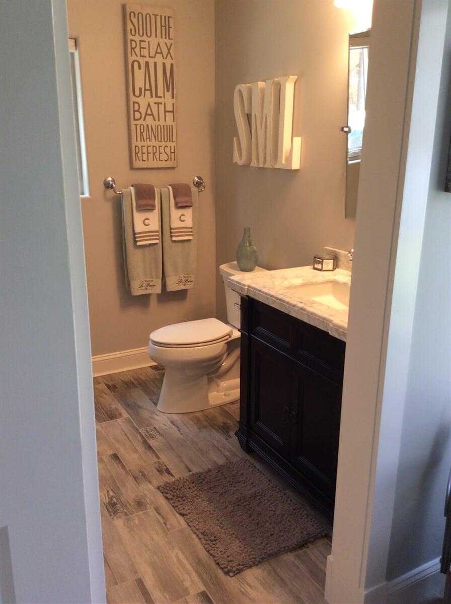 Wood look bathroom flooring in Franklin County, VA from The Floor Source