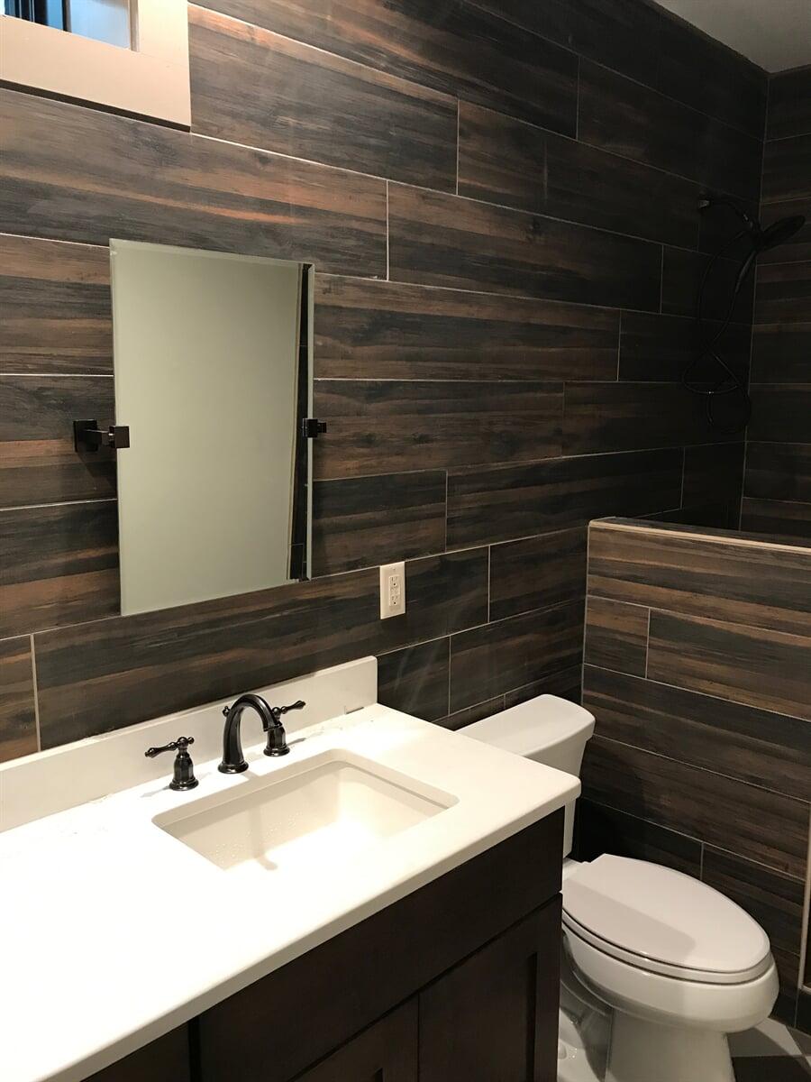 Wood look tile bathroom in Franklin County, VA from The Floor Source