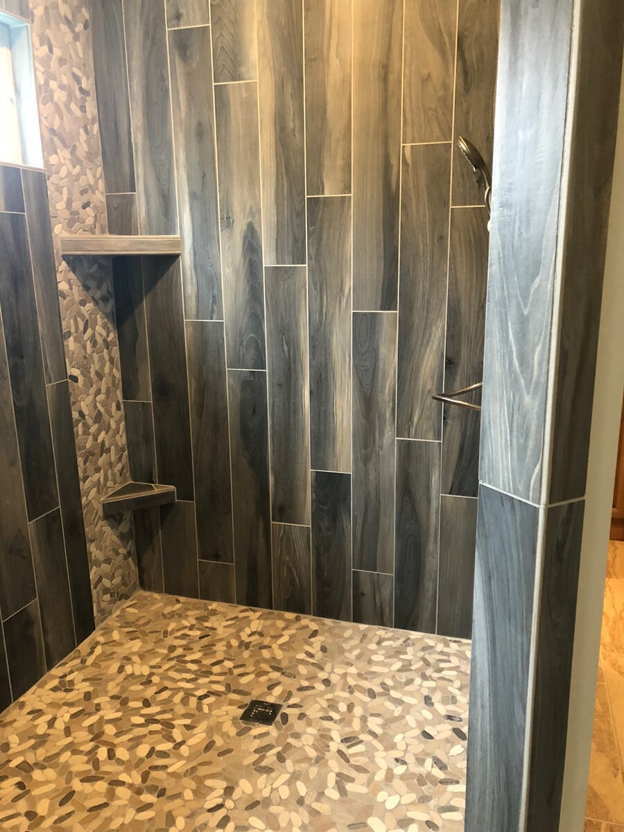 Modern shower remodel in New River Valley, VA from The Floor Source