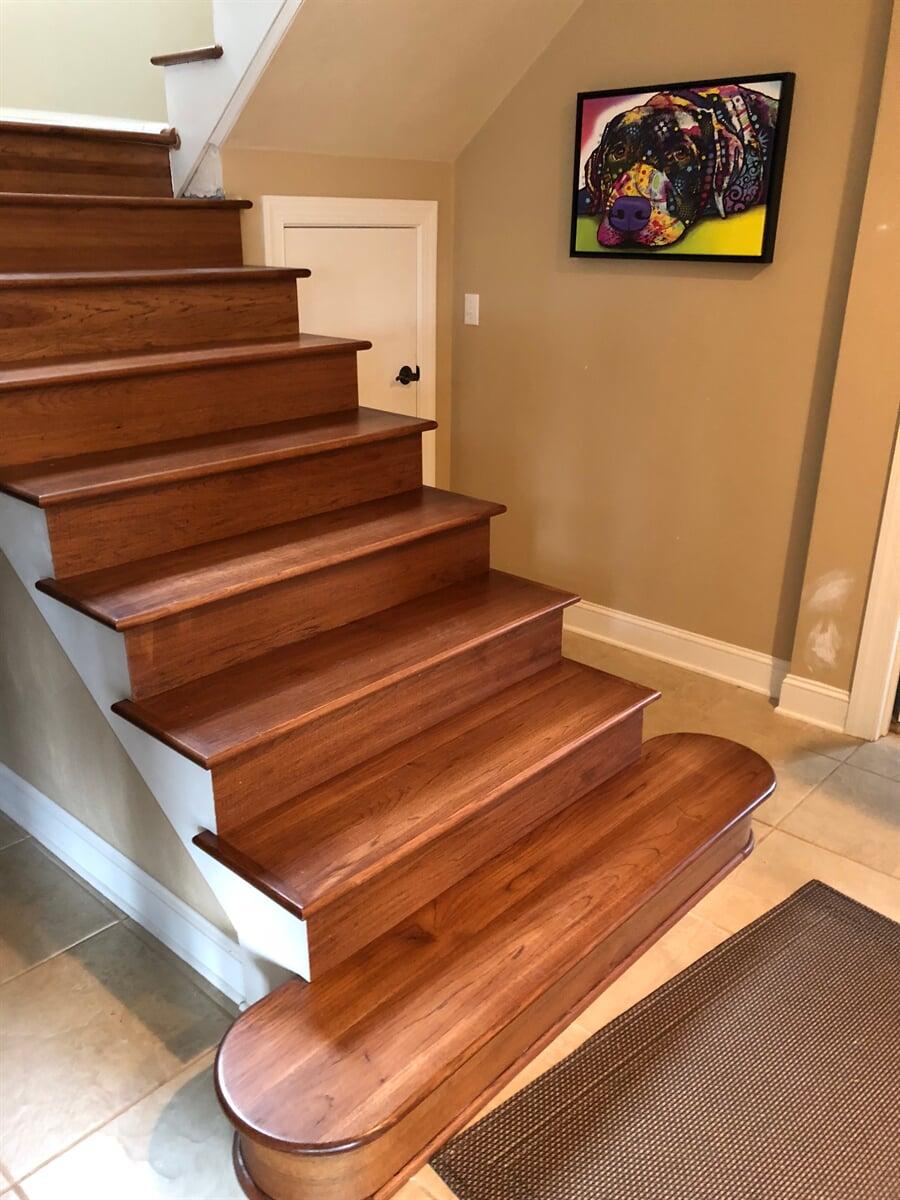 Natural wood stairway in Roanoke, VA from The Floor Source