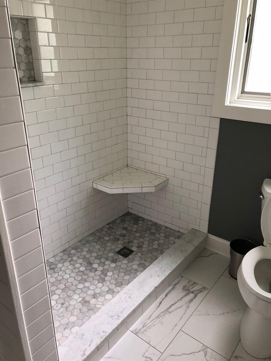 Small hexagonal shower floor tiles in Franklin County, VA from The Floor Source