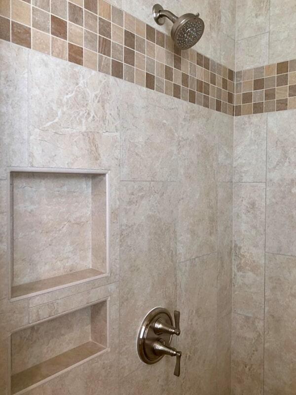 Tile walls in custom shower