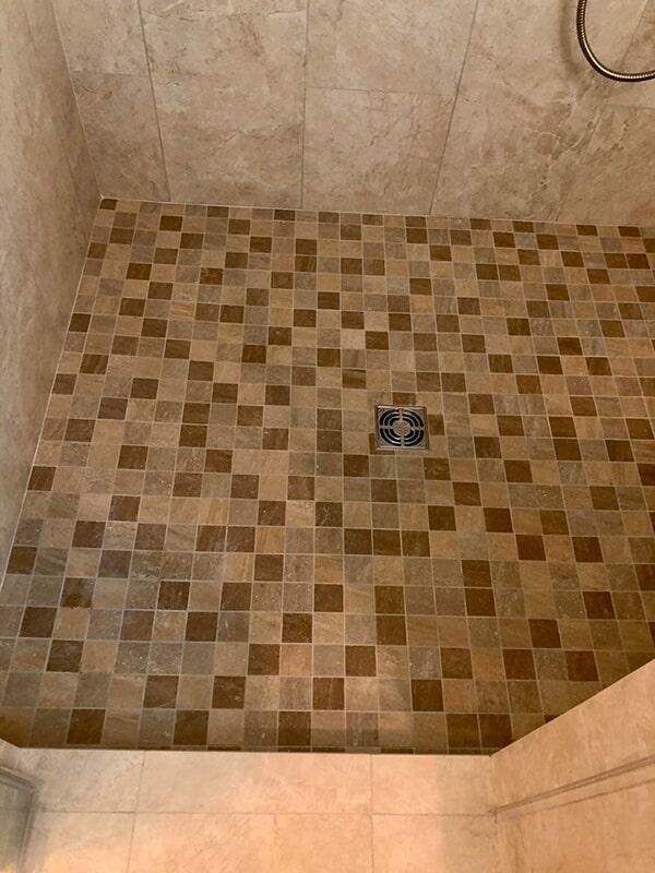 Mosaic floor in shower