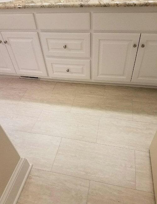 Tile floors in bathroom