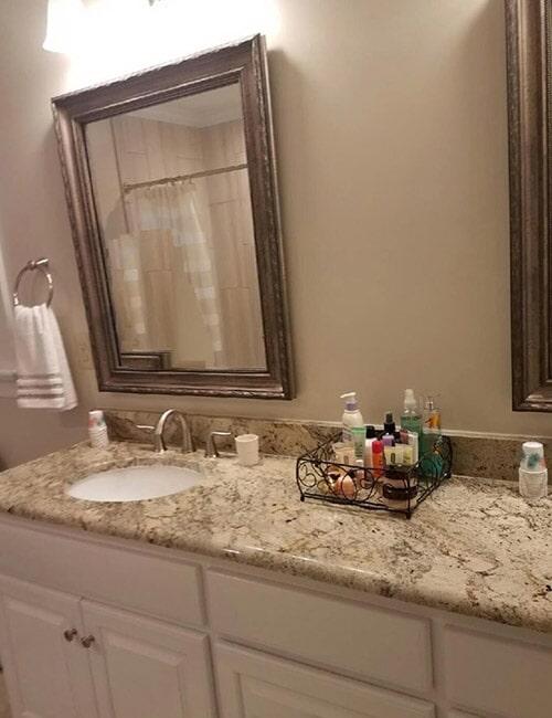Marble countertops in bathroom