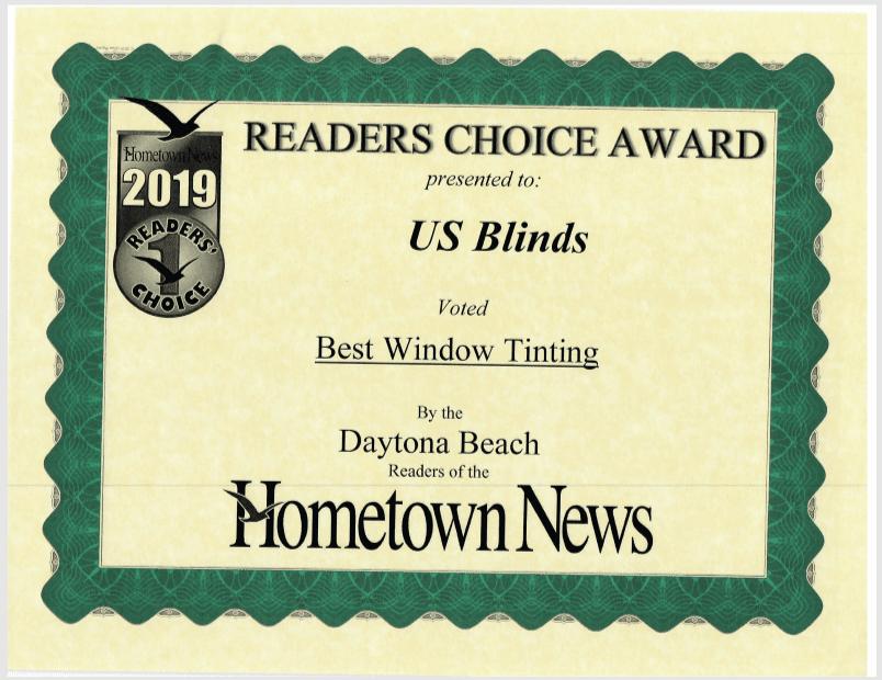 2019 Daytona Reader's Choice Certificate: Best Window Tinting