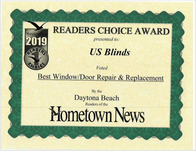 2019 Daytona Reader's Choice Certificate: Best Window/Door Repair and Replacement
