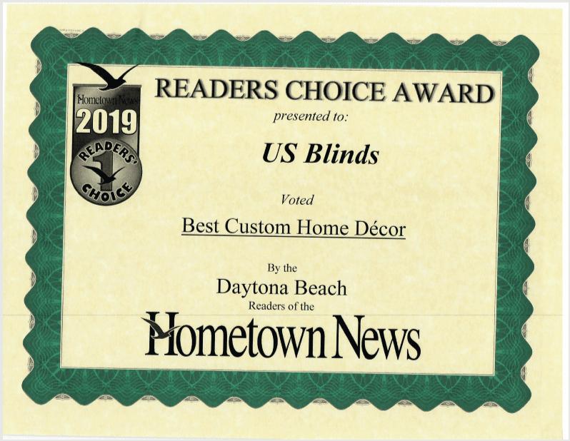 2019 Daytona Reader's Choice Certificate: Best Custom Home Decor