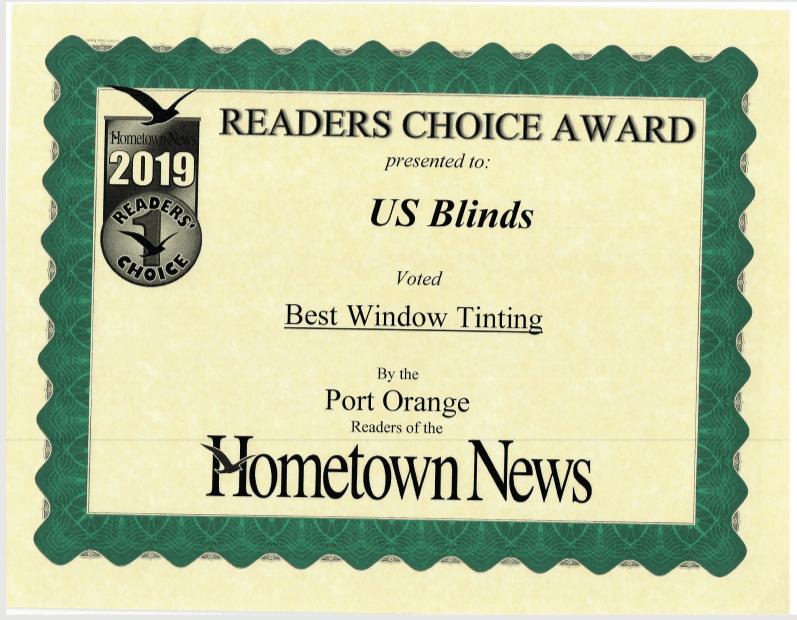 2019 Port Orange Reader's Choice Certificate: Best Window Tinting