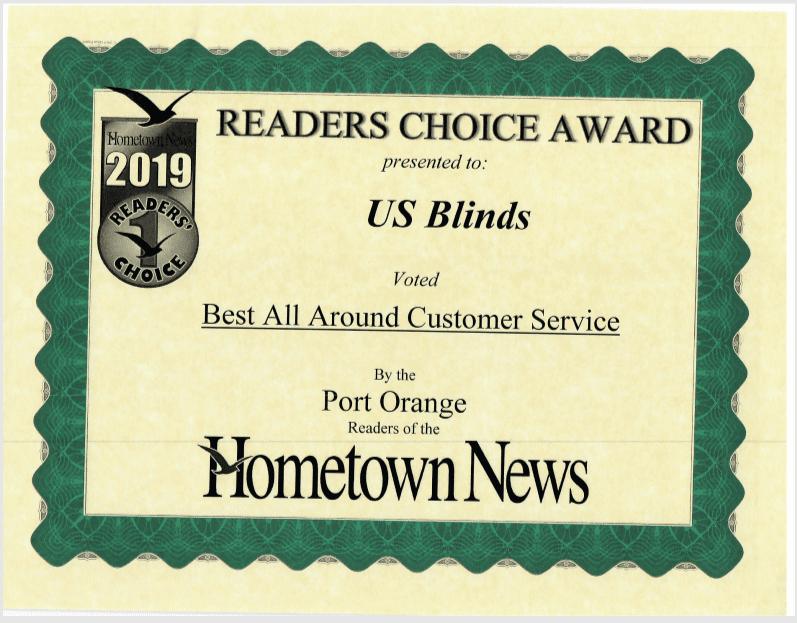 2019 Port Orange Reader's Choice Certificate: Best All Around Customer Service
