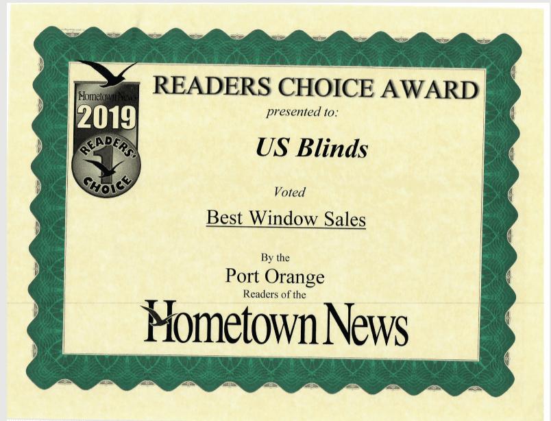 2019 Port Orange Reader's Choice Certificate: Best Window Sales