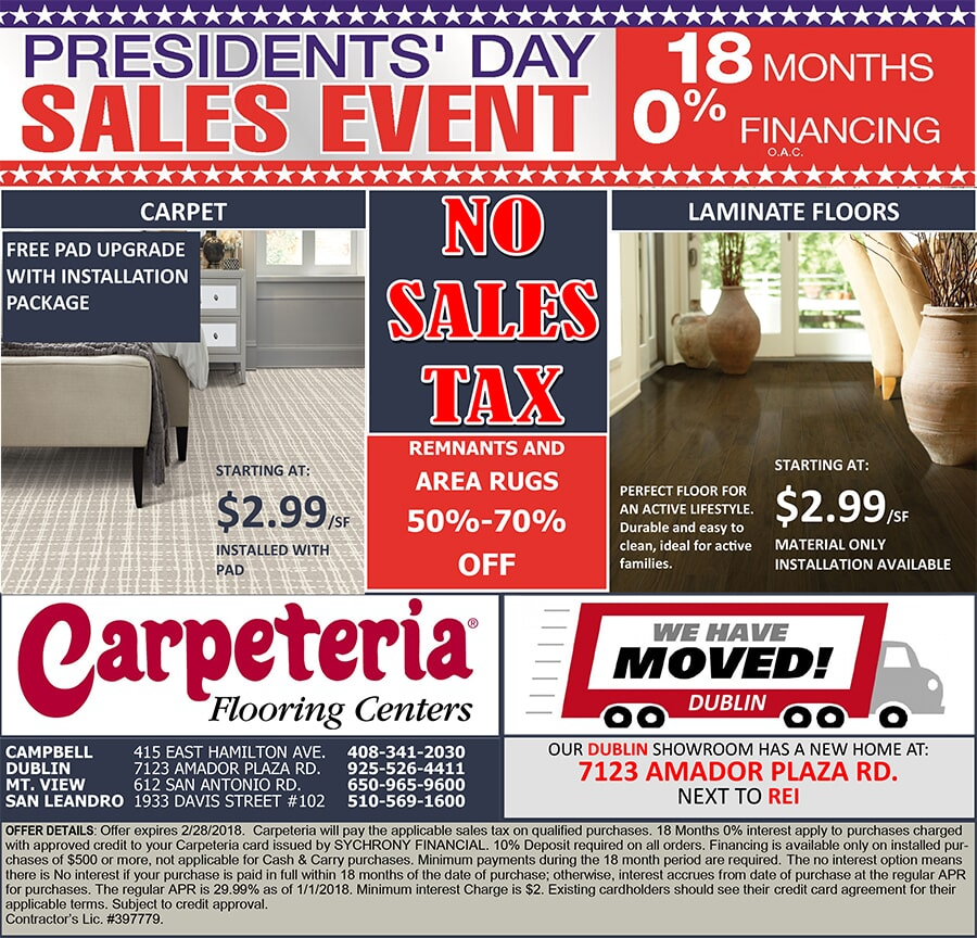 PRESIDENTS DAY 10X10 18 MONTH FINANCING