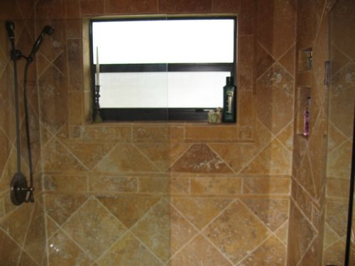 Tile shower installation with custom pattern in Weston, FL from Daniel Flooring