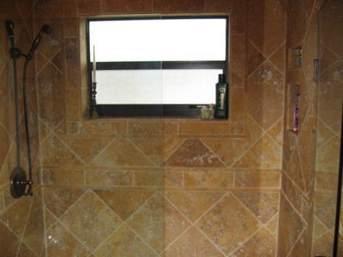 Tile shower installation with custom pattern in Weston, FL from Daniel Flooring