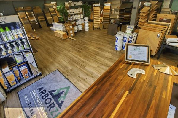 The showroom at Arbor Zen Hardwood Floors in Black Mountain, NC