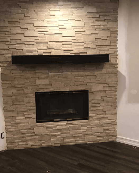Stone fireplace installation in Canyon Country, CA from Dave Walter Flooring Kitchens and Baths