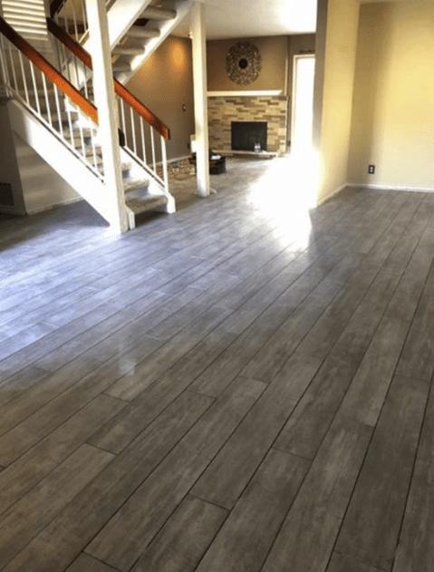 Light tone wood-look flooring brightening this home in Saugus, CA