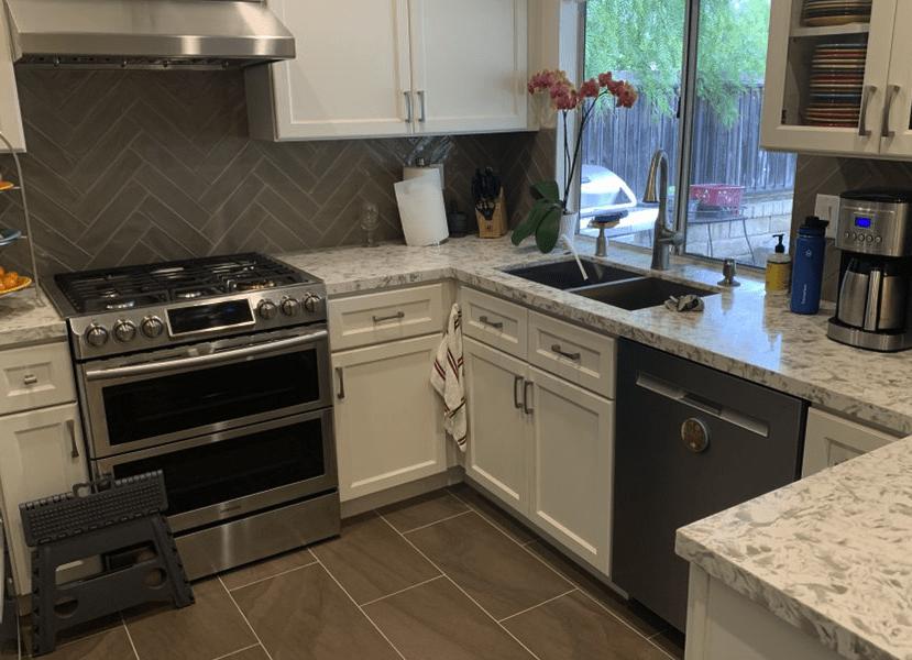 Dream kitchen renovation with herringbone tile backsplash in Valencia, CA
