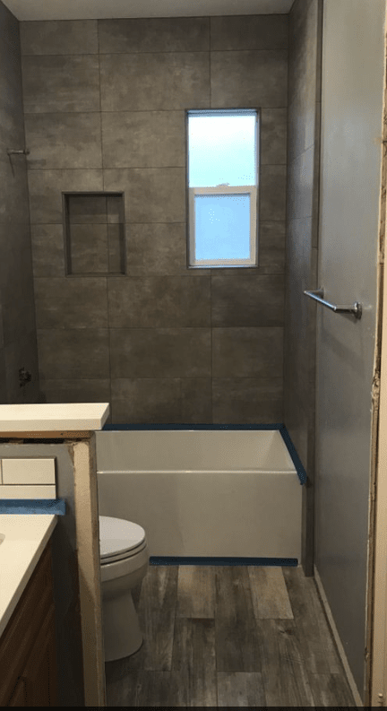 Custom bath/shower install in Canyon Country, CA from Dave Walter Flooring Kitchens and Baths