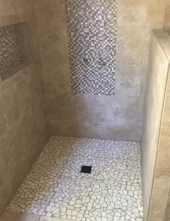 Multi-shape tile shower in Santa Clarita, CA from Dave Walter Flooring Kitchens and Baths