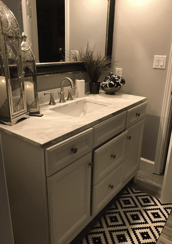 Custom bathroom remodel with ornate floor tiles in Newhall, CA
