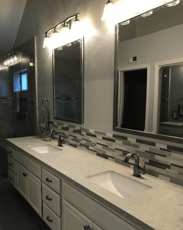Custom glass tile accent above vanity in Santa Clarita, CA